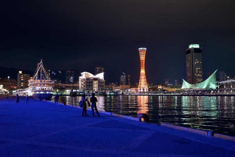 高浜岸壁より見たポートタワーなどが並ぶみなと夜景