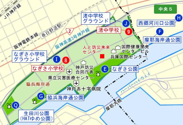 中央区避難圏域マップ 中央5 神戸市中央区:中央5-中央区避難 ...